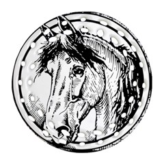 Framed Horse Round Filigree Ornament (two Sides)