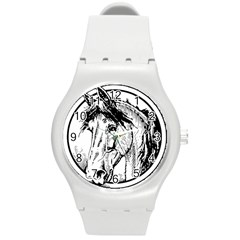 Framed Horse Round Plastic Sport Watch (m)