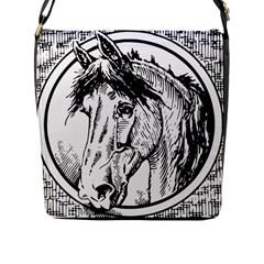 Framed Horse Flap Messenger Bag (l)