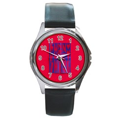 Funny Foggy Thing Round Metal Watch