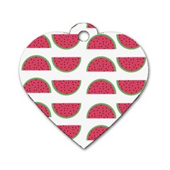 Watermelon Pattern Dog Tag Heart (two Sides)