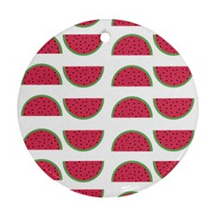 Watermelon Pattern Round Ornament (two Sides)