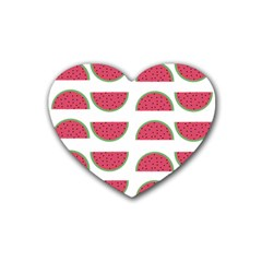 Watermelon Pattern Rubber Coaster (heart)