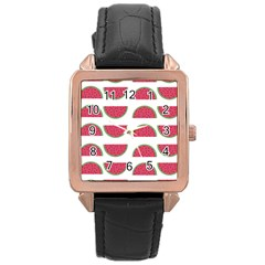 Watermelon Pattern Rose Gold Leather Watch