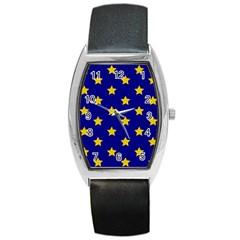 Star Pattern Barrel Style Metal Watch