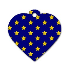 Star Pattern Dog Tag Heart (One Side)