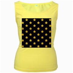 Star Pattern Women s Yellow Tank Top