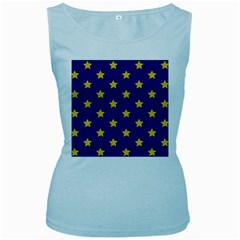 Star Pattern Women s Baby Blue Tank Top