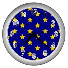 Star Pattern Wall Clocks (silver)