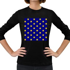 Star Pattern Women s Long Sleeve Dark T Shirts