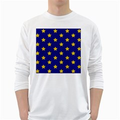Star Pattern White Long Sleeve T Shirts