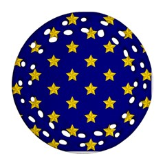 Star Pattern Round Filigree Ornament (two Sides)