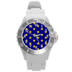 Star Pattern Round Plastic Sport Watch (l)
