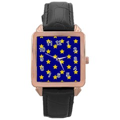 Star Pattern Rose Gold Leather Watch