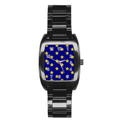 Star Pattern Stainless Steel Barrel Watch