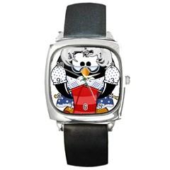 Grandma Penguin Square Metal Watch