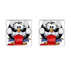 Grandma Penguin Cufflinks (square)