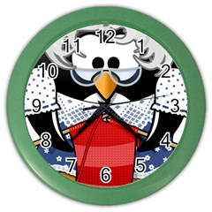 Grandma Penguin Color Wall Clocks