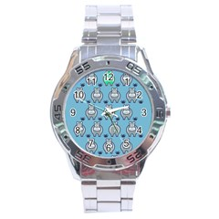 Funny Cow Pattern Stainless Steel Analogue Watch