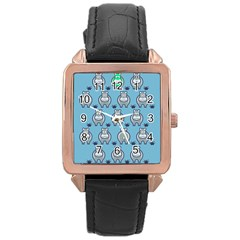 Funny Cow Pattern Rose Gold Leather Watch