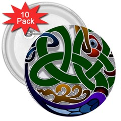 Celtic Ornament 3  Buttons (10 Pack)