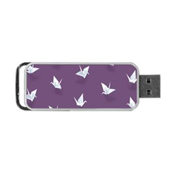 Goose Swan Animals Birl Origami Papper White Purple Portable USB Flash (Two Sides)