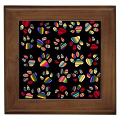 Colorful Paw Prints Pattern Background Reinvigorated Framed Tiles
