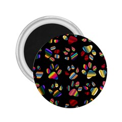 Colorful Paw Prints Pattern Background Reinvigorated 2 25  Magnets