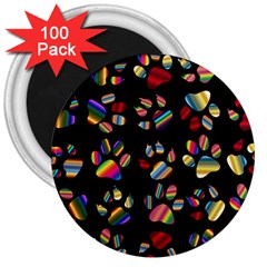 Colorful Paw Prints Pattern Background Reinvigorated 3  Magnets (100 pack)