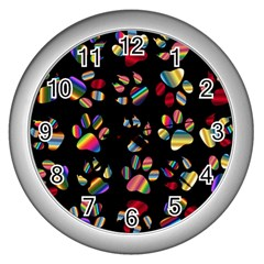 Colorful Paw Prints Pattern Background Reinvigorated Wall Clocks (Silver)