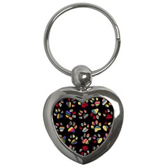 Colorful Paw Prints Pattern Background Reinvigorated Key Chains (Heart)