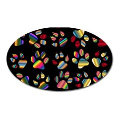 Colorful Paw Prints Pattern Background Reinvigorated Oval Magnet