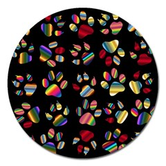 Colorful Paw Prints Pattern Background Reinvigorated Magnet 5  (round)