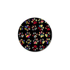 Colorful Paw Prints Pattern Background Reinvigorated Golf Ball Marker (4 Pack)