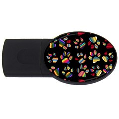 Colorful Paw Prints Pattern Background Reinvigorated USB Flash Drive Oval (1 GB)