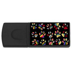 Colorful Paw Prints Pattern Background Reinvigorated USB Flash Drive Rectangular (2 GB)