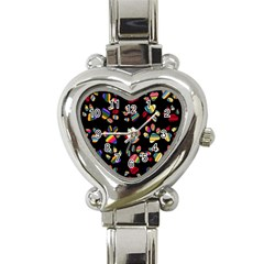 Colorful Paw Prints Pattern Background Reinvigorated Heart Italian Charm Watch