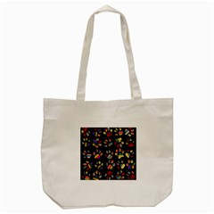 Colorful Paw Prints Pattern Background Reinvigorated Tote Bag (cream)