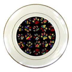 Colorful Paw Prints Pattern Background Reinvigorated Porcelain Plates