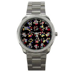 Colorful Paw Prints Pattern Background Reinvigorated Sport Metal Watch