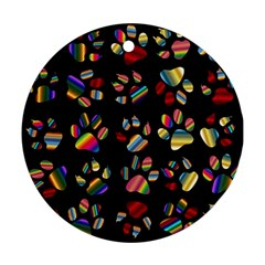 Colorful Paw Prints Pattern Background Reinvigorated Round Ornament (two Sides)