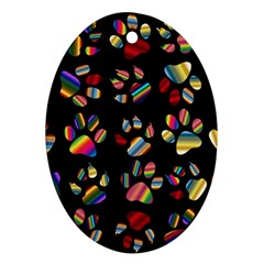 Colorful Paw Prints Pattern Background Reinvigorated Oval Ornament (two Sides)