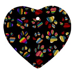 Colorful Paw Prints Pattern Background Reinvigorated Heart Ornament (Two Sides)