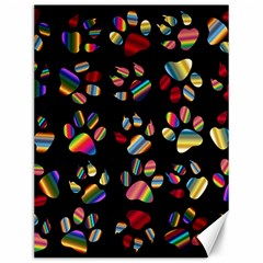 Colorful Paw Prints Pattern Background Reinvigorated Canvas 12  x 16
