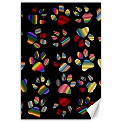 Colorful Paw Prints Pattern Background Reinvigorated Canvas 12  X 18