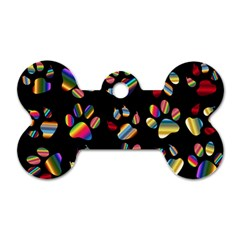 Colorful Paw Prints Pattern Background Reinvigorated Dog Tag Bone (two Sides)