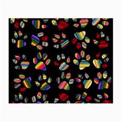 Colorful Paw Prints Pattern Background Reinvigorated Small Glasses Cloth (2-Side)