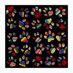 Colorful Paw Prints Pattern Background Reinvigorated Medium Glasses Cloth (2 Side)