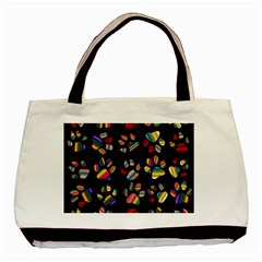 Colorful Paw Prints Pattern Background Reinvigorated Basic Tote Bag (two Sides)