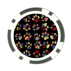 Colorful Paw Prints Pattern Background Reinvigorated Poker Chip Card Guard